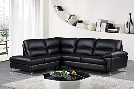 Astonishing Cortesi Home Contemporary Boston Genuine Leather Sectional Sofa With Left Chaise Lounge Black Spiritservingveterans Wood Chair Design Ideas Spiritservingveteransorg
