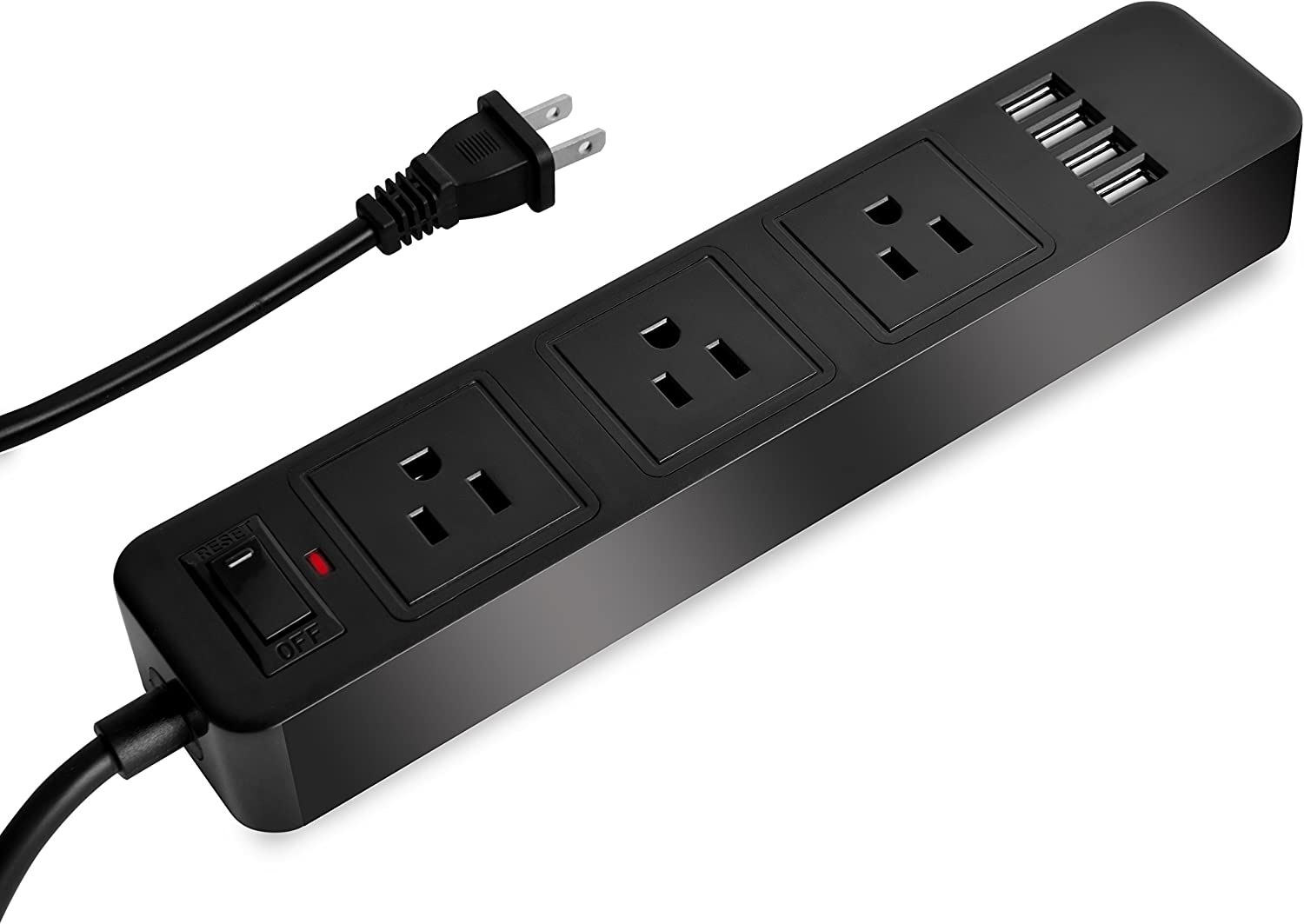 Elinker 3-Outlet Power Strip, with 4 USB Charging ports Home/Office Surge Protector with 6.6ft Extension Cord for Smartphone and Tablets Black