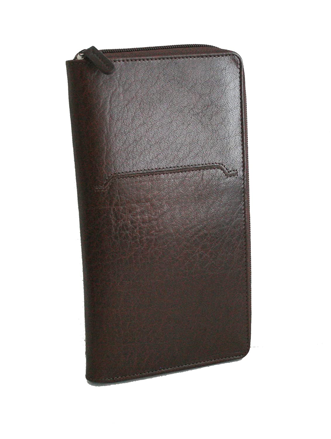 de2045ca30ca Genuine Leather Zip Around TRAVEL Wallet in Dark Brown, UNISEX! so ...