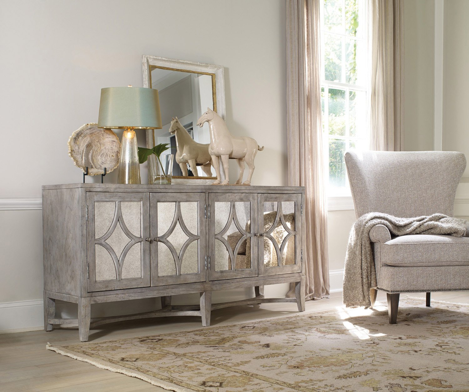 Superb Amazon.com: Hooker Furniture Melange 4 Door Diamante Console In Weathered  Gray: Kitchen U0026 Dining
