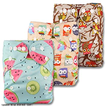 with 3 Bamboo Charcoal Inserts Reusable Pocket Cloth Nappy Set of 3 Littles /& Bloomz Patterns 307 Fastener: Popper