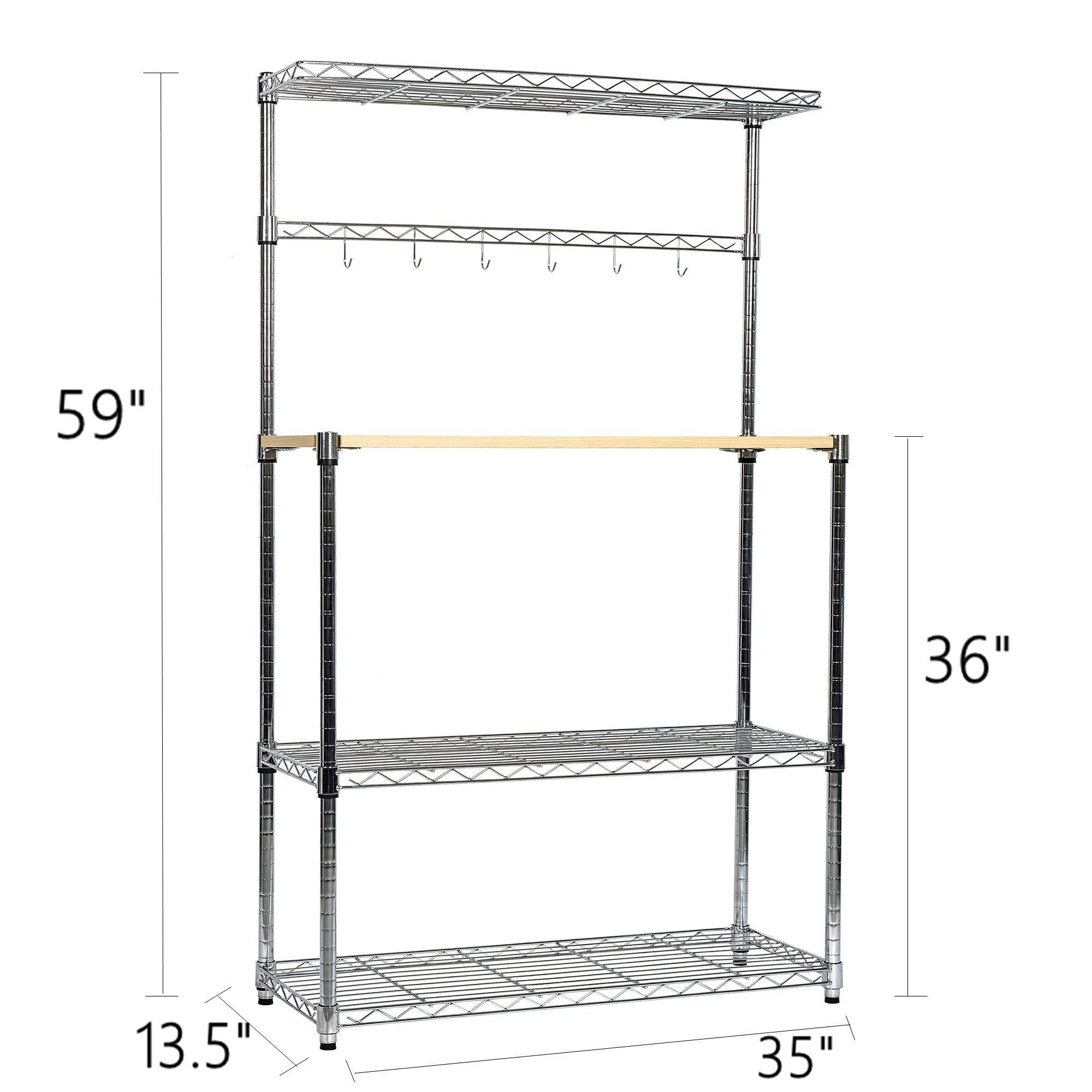 Livebest 4-Tier Kitchen Standing Baker's Rack Adjustable Cart Microwave Storage Shelf with Wheels Chrome Shelves and Thicken Cutting Board (Large)