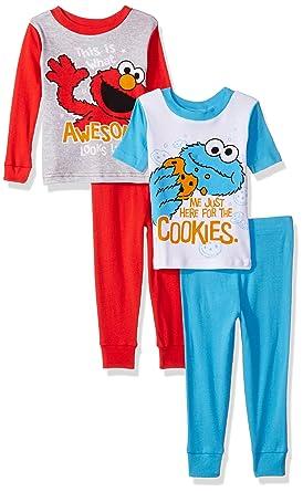 d0016952fa Sesame Street Boys  Toddler 4-Piece Cotton Pajama Set