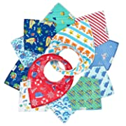 12- Pack Baby Bandana Drool Bibs for Drooling and Teething by Daulia, Unisex Super Absorbent Organic Cotton, Cute Baby Gift for Boys & Girls, Toddler Baby Shower Gift Set … (Ocean Set)