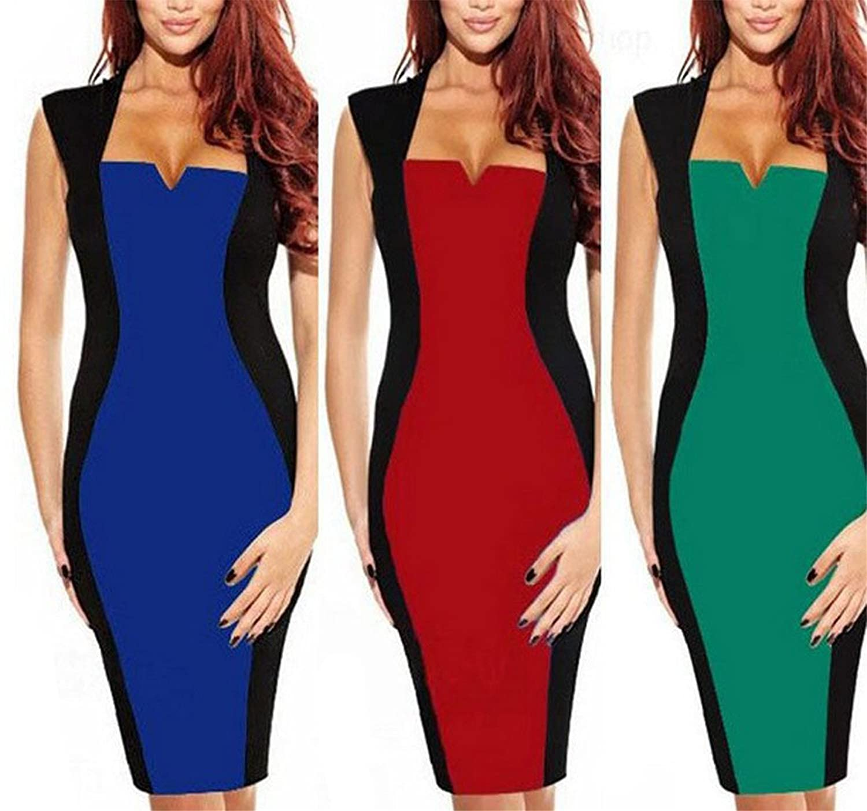 WIIPU Women's Rockabilly Square Clubwear Pencil Dress(J275)