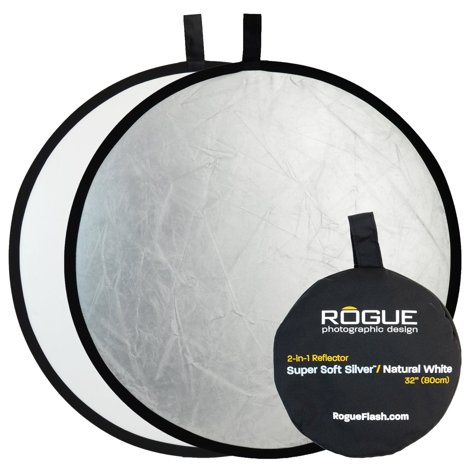Rogue Photographic Design 2-in-1 Collapsible Reflector 32'', Super Soft Silver/Natural White (ROGUE32SW) by Rogue Photographic Design