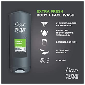 Amazon Com Dove Men Care Body Wash Extra Fresh 18 Oz Pack Of 3 Extra Fresh 18fl Oz Beauty