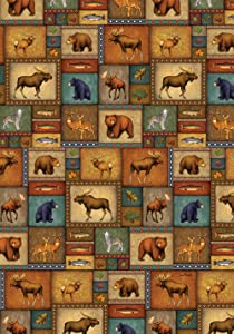 Toland Home Garden Quilted Wilderness 28 x 40 Inch Decorative Wildlife Collage Bear Moose Wolf Fish House Flag