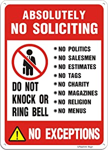 Uflashmi No Soliciting Sign for House Door Yard, Absolutely No Soliciting Signs for Home, Premium Metal, 7X10 inch