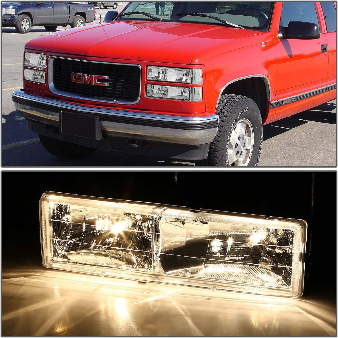 ,Smoked Lens Clear Corner Driver /& Passenger Side DNA Motoring HL-OH-8P-C10-3G-SM-CL1 Headlight Assembly
