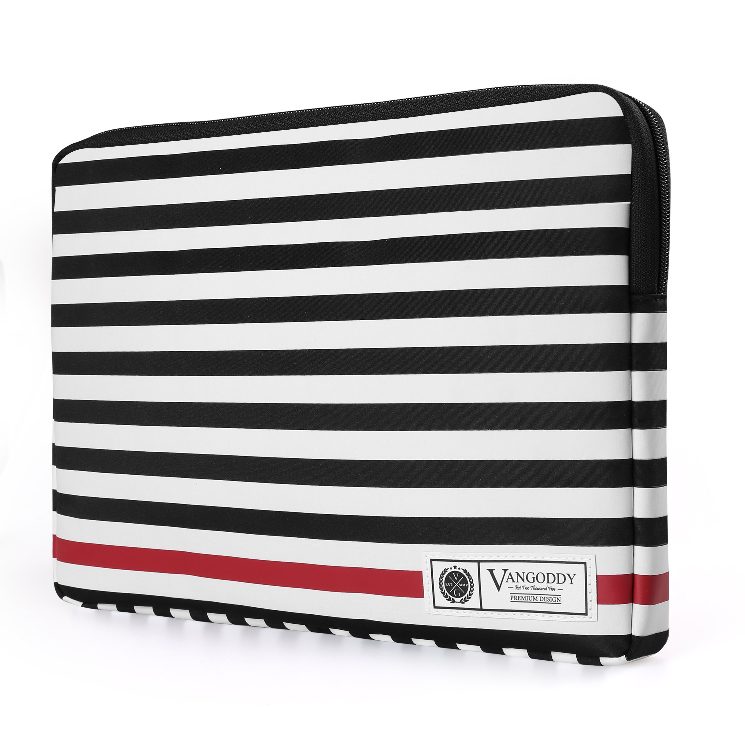 Luxe 13.3'' Laptop Tablet Sleeve Vegan Leather B/W Stripe Pattern Design for Microsoft Surface Laptop 13.5''/Suface Pro 13.5'' Series/Surface Book 13.5'' Series