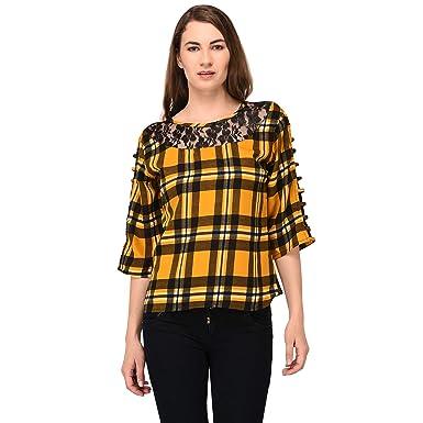 4c19374a2e953e Patrorna Cotton Silk Blend Women s Lace Work Empire Tops in Yellow Check  Print  Amazon.in  Clothing   Accessories