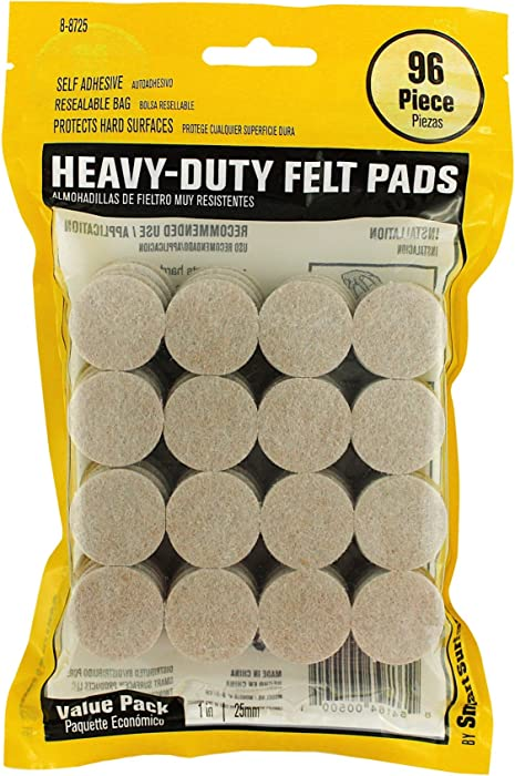 Smart Surface 8725 Heavy Duty Self Adhesive Furniture Felt Pads 1-Inch Round Oatmeal 96-Piece Value Pack in Resealable Bag