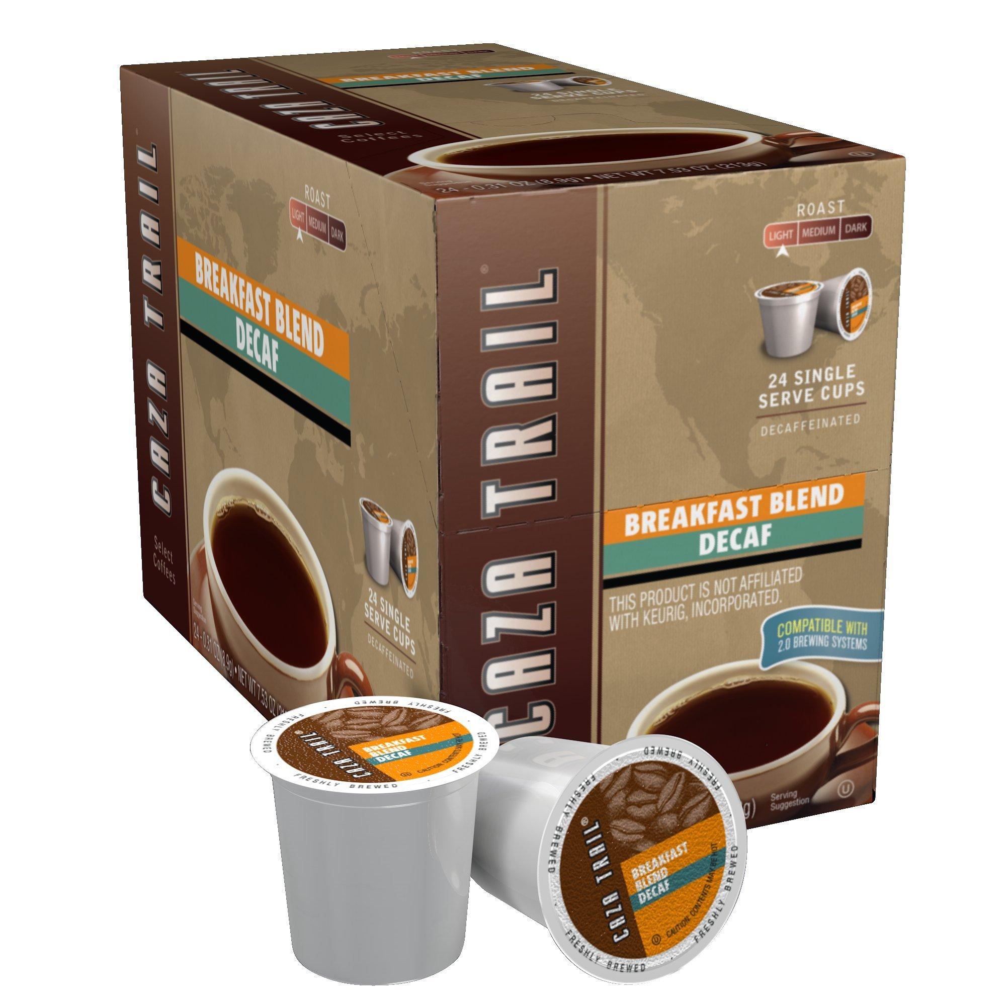 Caza Trail Coffee, Decaf Breakfast Blend, 24 Single Serve Cups