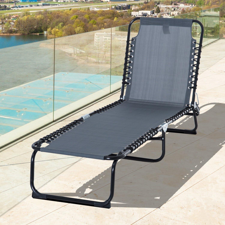 Tidyard Folding Outdoor Sun Lounger Backrest and Footrest Adjustable Recliner Lounge Chaise Chair Portable Balcony Beach Patio Pool Deck Backyard Garden Furniture