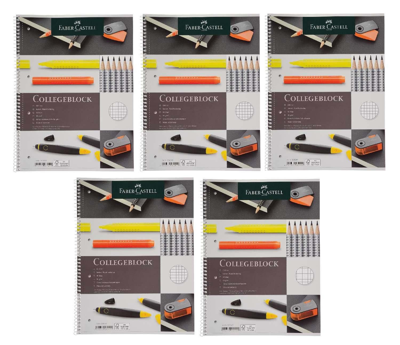 Faber-Castell 208249-5 Collegeblock DIN A4, FSC-Mix, kariert, 80 Blatt, 5 Blöcke 5 Blöcke Iden Nürnberg GmbH