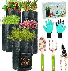 Gardening Tools Potato Grow Bags - 4 Garden Tools Set+5 PCS 10 Gallon Grow Bags, Heavy Duty Aluminum Garden Tools with Gardening Gloves Plus Fabric Pots for Plants, Best Gardening Gift for Men Women