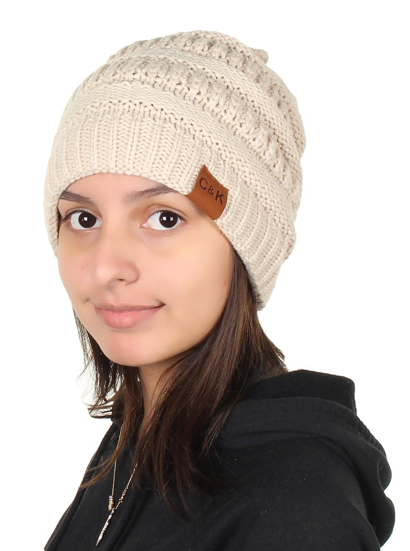 fa872f5309c Gilbin C K Knit Beanie Trendy Warm Chunky Thick Soft Warm Winter Hat Beanie  Skully Beige at Amazon Women s Clothing store