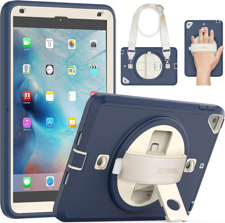 SEYMAC iPad Mini 5/4 Case, Shockproof Case for iPad Mini 5/4 Full Body Rugged Case with Screen Protector[360 Handle Strap] Kickstand Mini Cover for 7.9'' iPad Mini 5 2019/ Mini 4 2015 Beige/Navy Blue