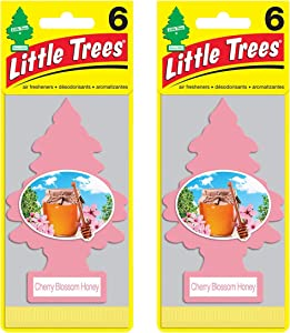 LITTLE TREES Car Air Freshener | Hanging Paper Tree for Home or Car | Cherry Blossom Honey | 12 Pack