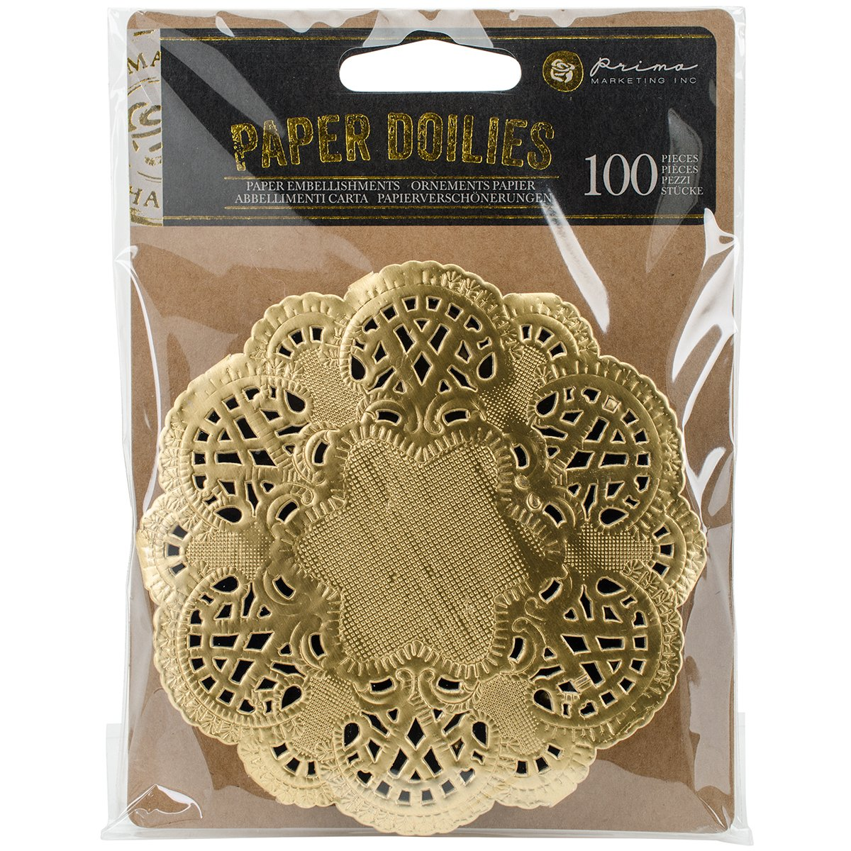 Paper Doilies 100/pk Round Gold Prima Marketing 585006