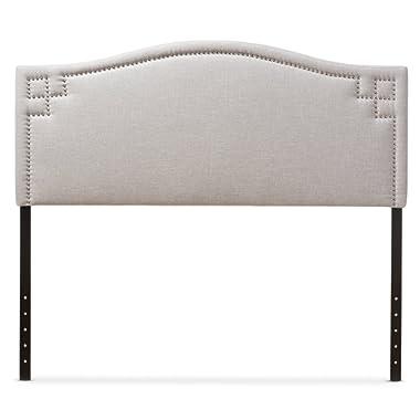 Baxton Studio Gallia Modern & Contemporary Fabric Upholstered Headboard, Queen, Greyish Beige