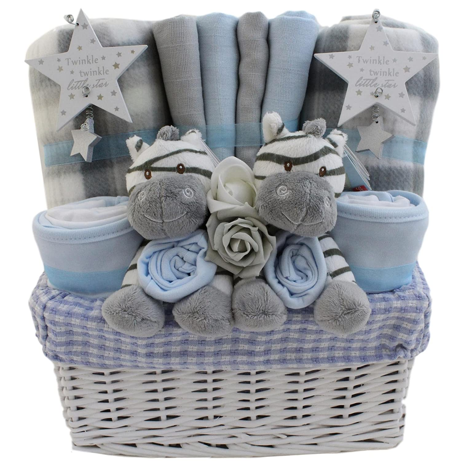 Baby boy twins gift basket baby twin boys gift hamper baby twin shower gift new baby gift for twin boys Unique Baby Gift Baskets