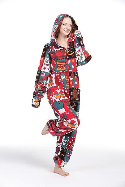 fbced7b0fa PartyPajama Women s   Men s Christmas Style Fleece Hooded Onesies One-Piece  Pyjamas Costume (XX-Large)  Amazon.co.uk  Clothing
