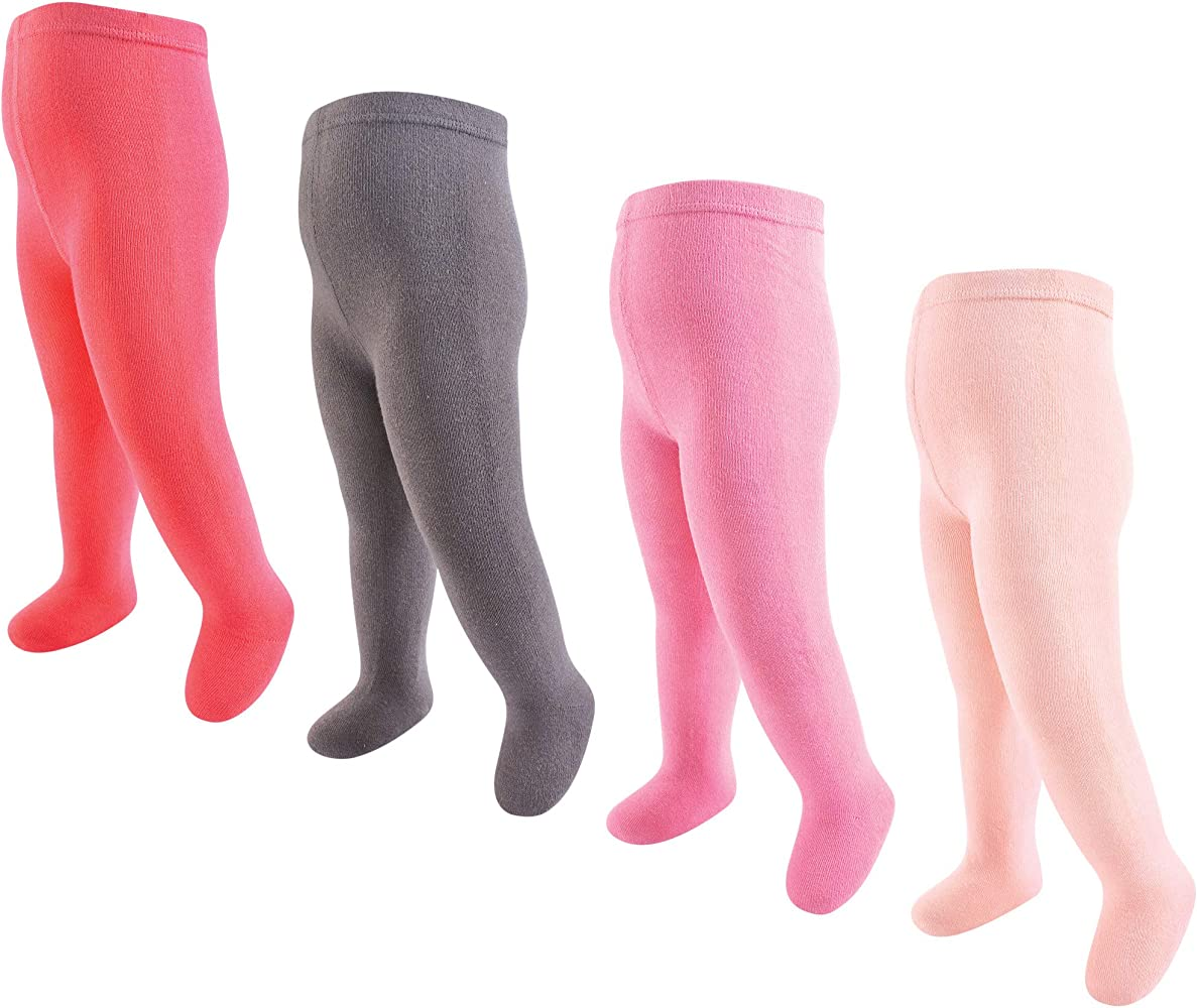 Coral and Charcoal 4-Pack Touched by Nature Baby and Toddler Girl Organic Cotton Tights