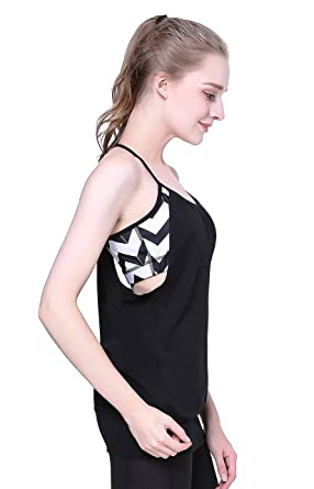 d57c557b24c2e Women s Basic Yoga Tank Tops Spaghetti Strap Built in Bra Workout  Sleeveless Shirts Open Back XS