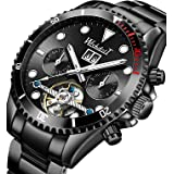 Men Mechanical Stainless Steel Skeleton Watch Automatic Movment Gold Silver Wristwatch Waterproof Hollow Military Self Windin