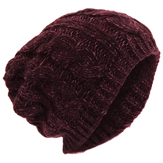 9f756fc71ec Universal Textiles Mens Winter Cable Slouch Beanie Hat (One Size) (Maroon)