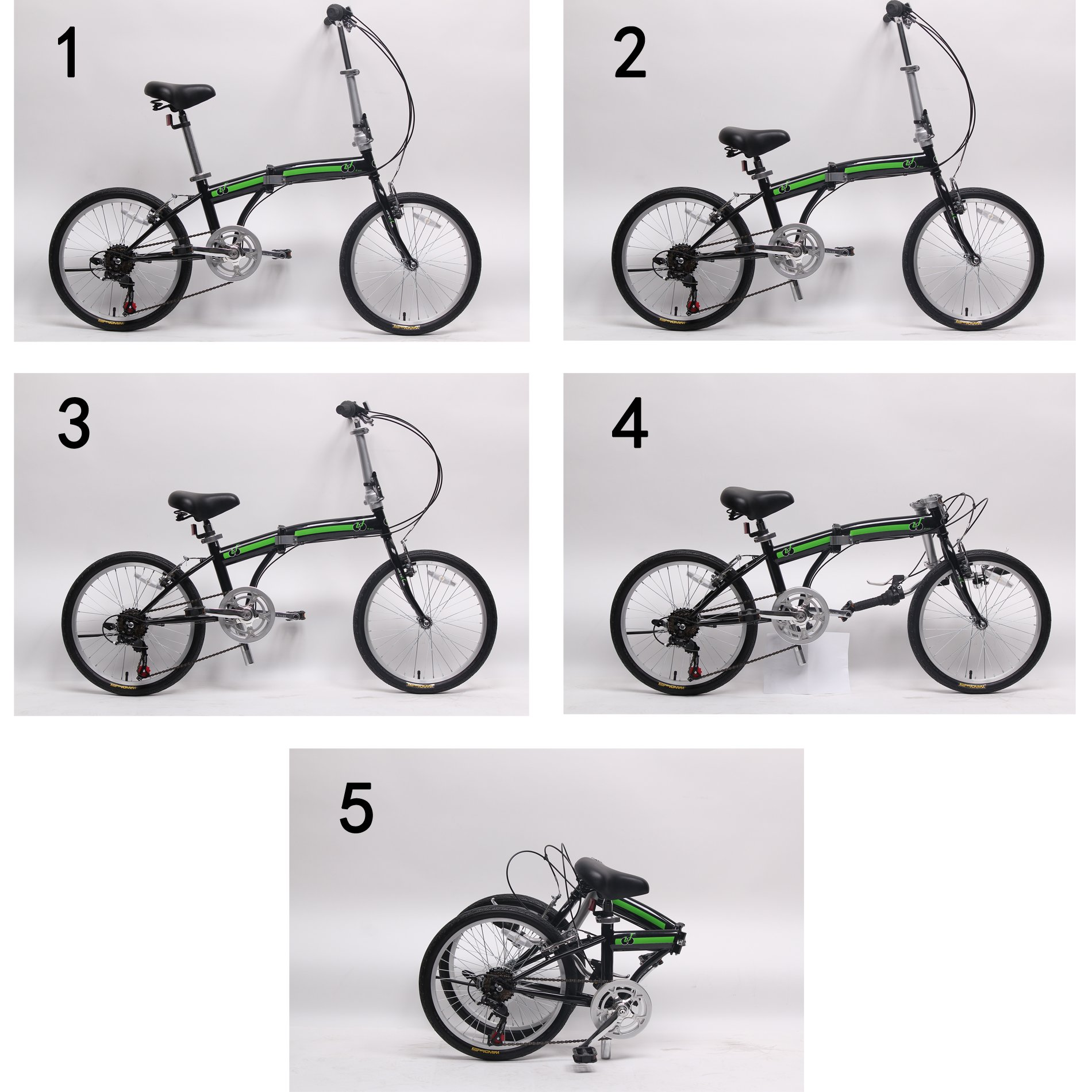 IDS Home Unyousual U Arc Folding City Bike Bicycle 6 Speed Steel Frame Shimano Gear Wanda Tire, Black by IDS Home (Image #8)