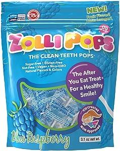 Zollipops Clean Teeth Lollipops, Blue Raspberry, 6.2 Ounce