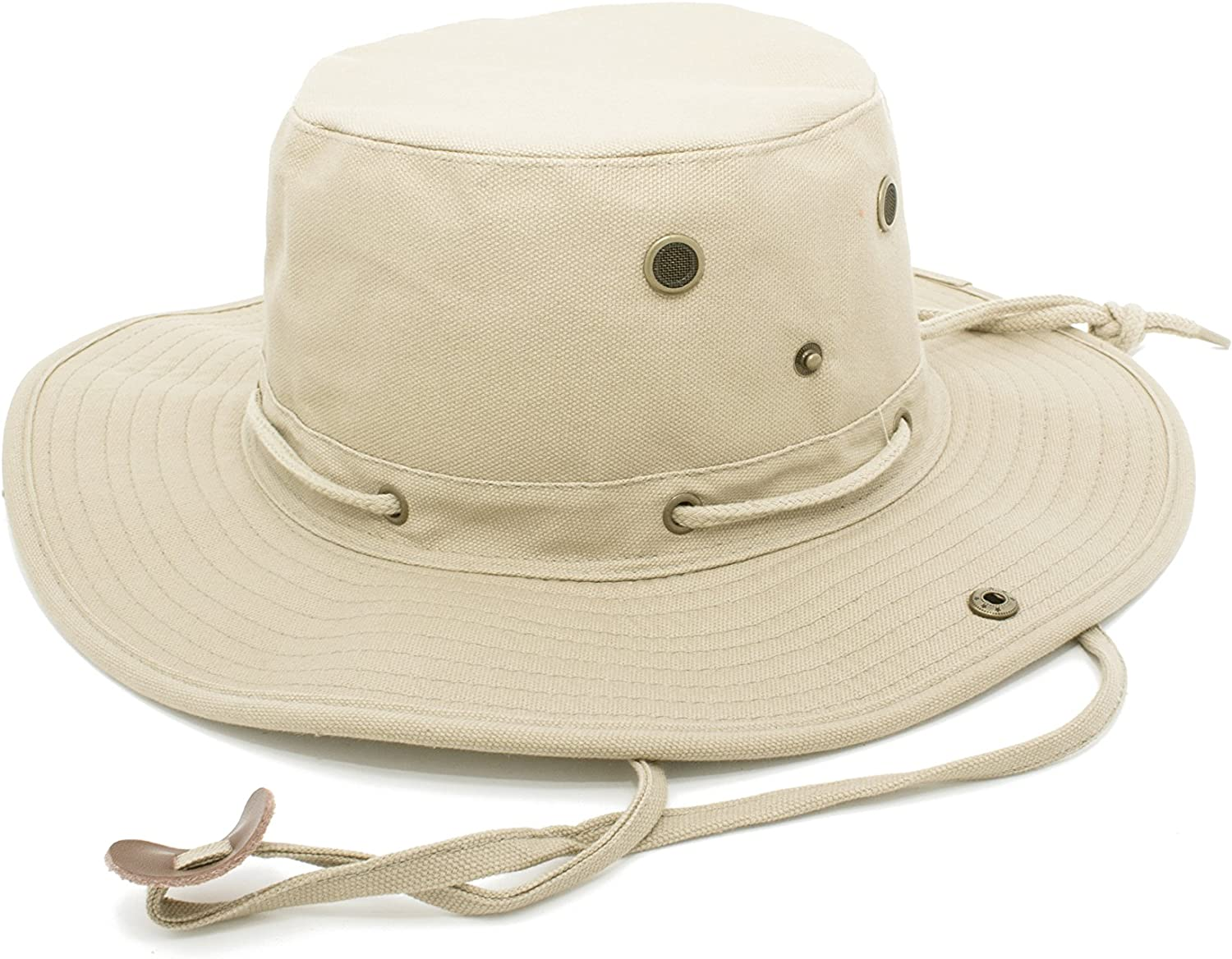 Fenside Country Clothing Cotton Wide Brim Safari Sun Hat with Side Vents /& Neck Strap Unisex