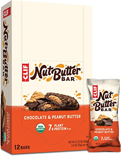 CLIF Nut Butter Bar – Organic Snack Bars – Chocolate Peanut Butter – 1.76 Ounce Protein Snack Bars, 12 Count Packaging May Vary