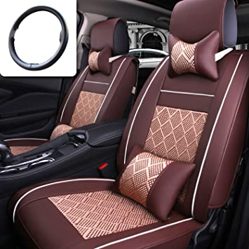 New Leather+Ice Silk Car Seat Full Surrounded Cover Protector Mat For 5-Seat Car