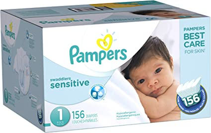 Pampers Pure Disposable Baby 74 Count Diapers Newborn // Size 1 8-14 lb