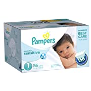 Pampers Swaddlers Sensitive Disposable Diapers Newborn Size 1 (8-14 lb), 156 Count, SUPER ECONOMY