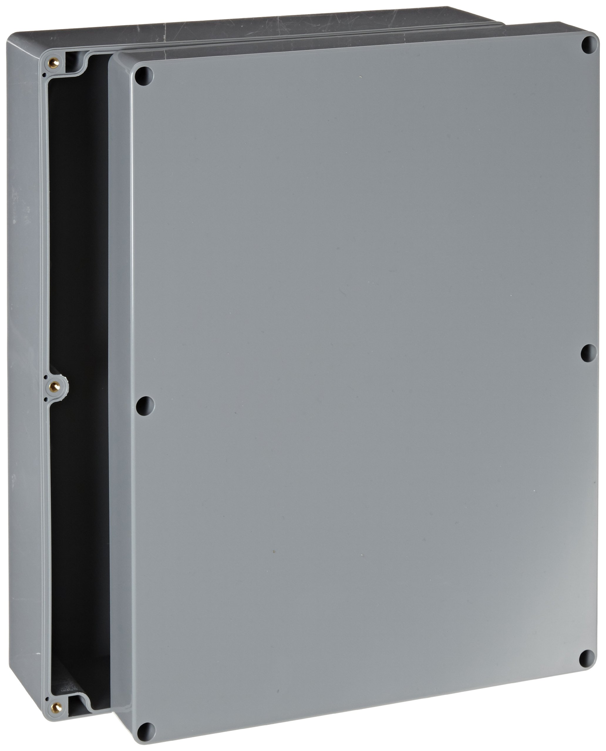 BUD Industries PN-1342-DG High-Impact ABS NEMA 4X Indoor Box, 11-51/64'' Length x 9-3/64'' Width x 3-3/8'' Height, Dark Gray Finish