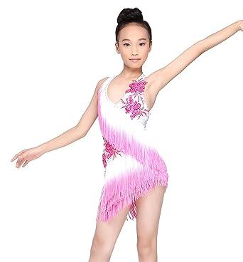 e9363cc7a8b6 JS CHOW Gilrs' Tassels Latin Salsa Performance Dance Dress White and Fushia  ...