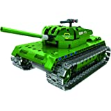 Bo Toys R/C Tank Building Bricks Radio Control Toy, 453 Pcs Military Battle Tank Kit with USB Rechargeable Battery, Construction Build It Yourself Toys