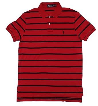 Polo Ralph Lauren Men\u0027s Pony Logo Striped Interlock Polo Shirt (S, RL 2000  Red