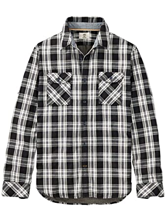 747e1d0359b0 Timberland Men's Long Sleeve Double Layer Plaid Shirt, Forged Iron, Medium