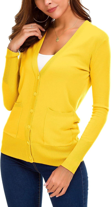 EXCHIC Women/'s Basic Cardigan Button Down Coat Fashion Sweater