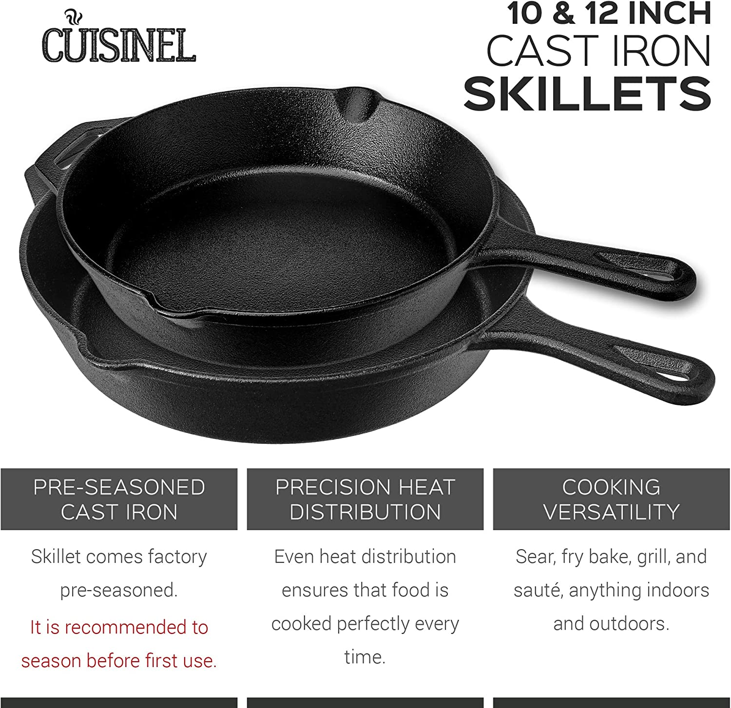 Indoor and Outdoor Use Pre-Seasoned Cast Iron Skillet 2-Piece Set ...