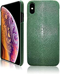 Luxury Case for iPhone Xs Max 6.5 Inch Hand Made from Genuine Stingray Fish Skin Full Body Protection Bumper Leather Case for iPhone Xs Max (Stingray Edition) (Olive Green)