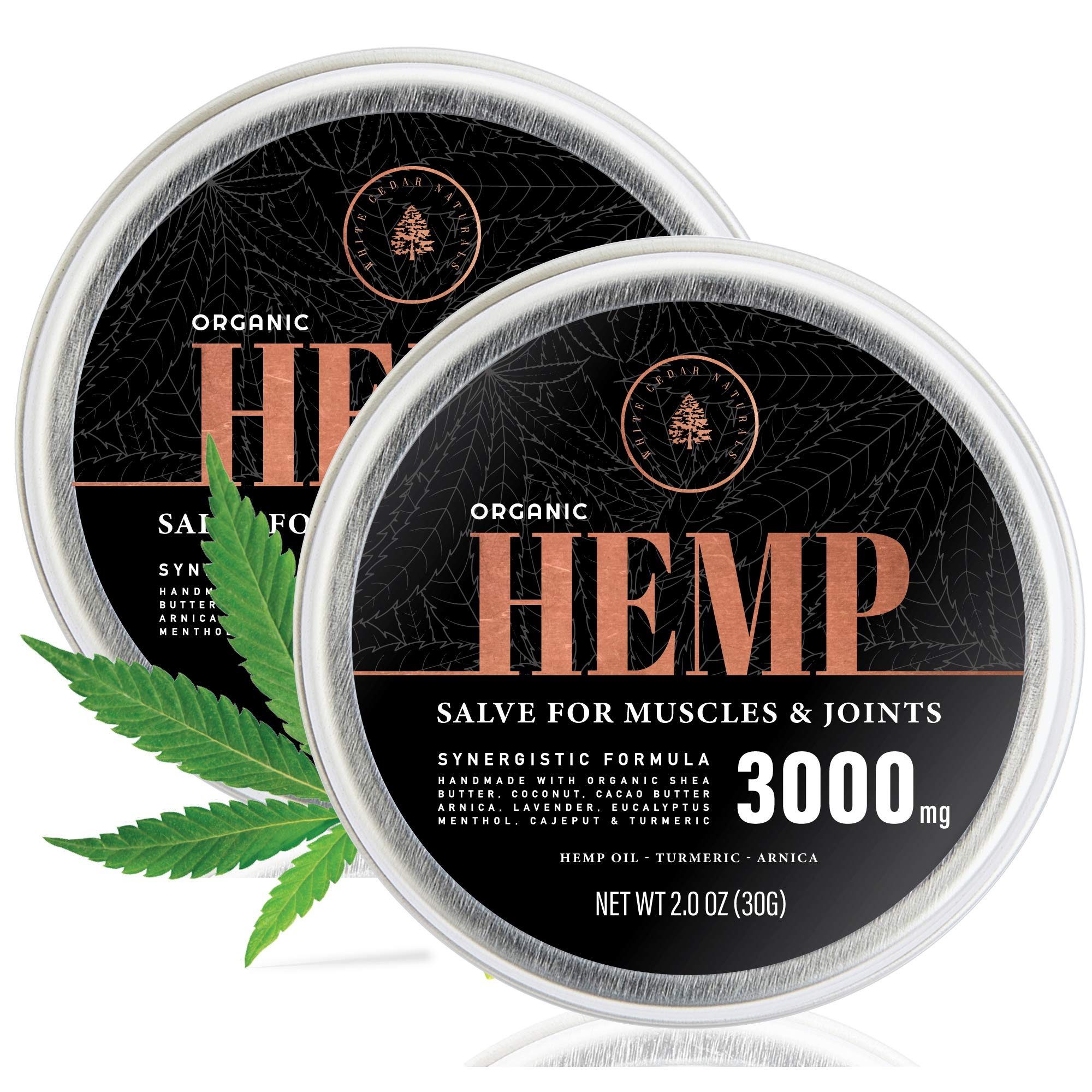 (2-Pack) Organic Hemp Salve - 3000MG - Anti Inflammatory Cream Formula for Back, Joints & Muscles - Handmade with Arnica Montana, Menthol, Aloe Leaf, Shea Butter, Cacao Butter & Turmeric - 2oz by CBD Oil for Pain Relief Research Lab