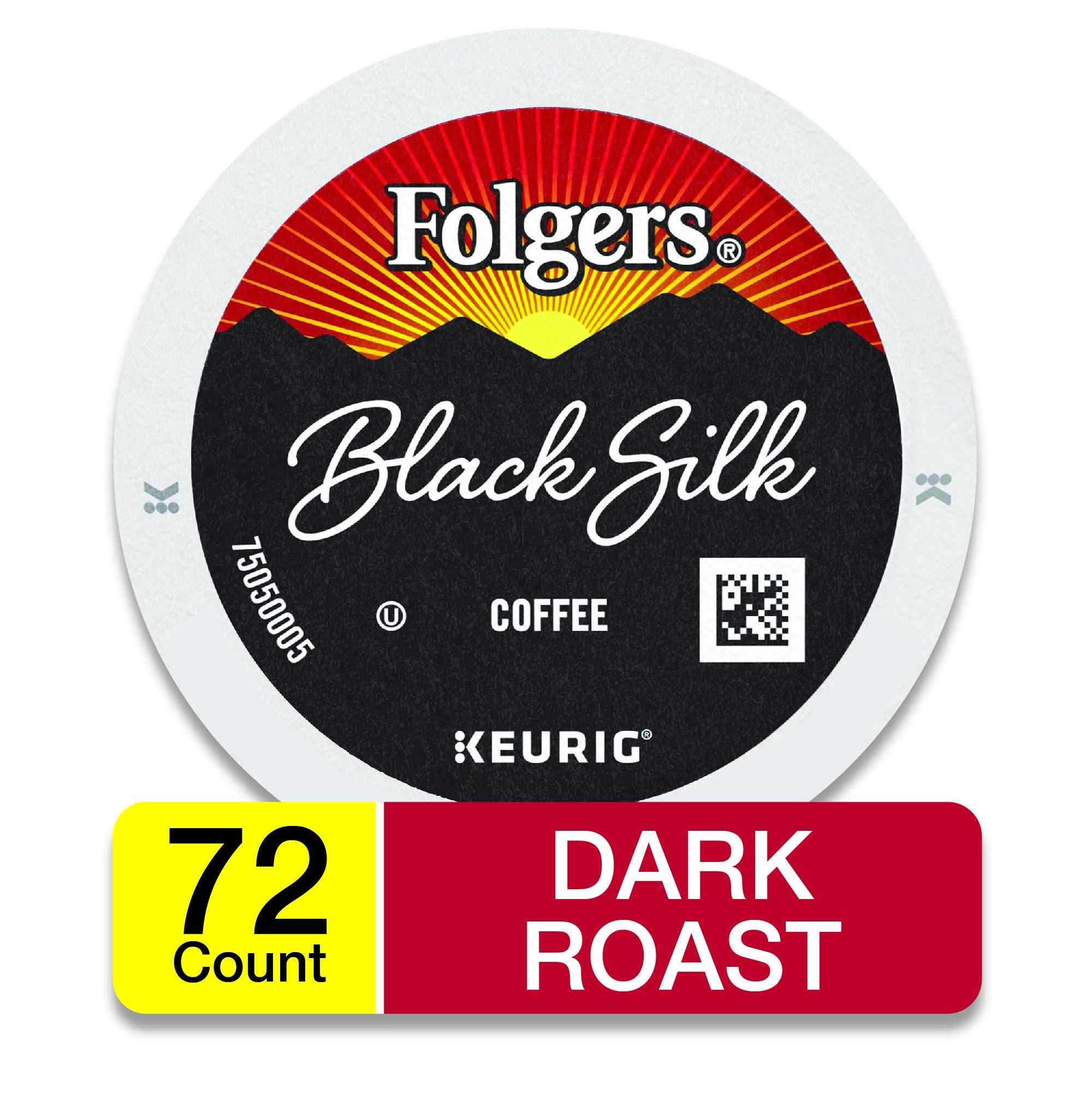 Folgers Black Silk Dark Roast Coffee, 72 K Cups for Keurig Makers, Packaging May Vary by Folgers