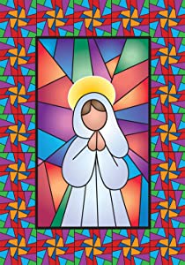 Toland Home Garden Stained Glass Angel 28 x 40 Inch Decorative Colorful Multicolor Religious Prayer House Flag